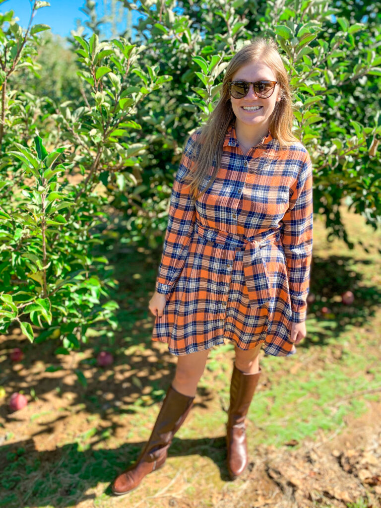 Fall apple picking outfit at Eastmont Orchards
